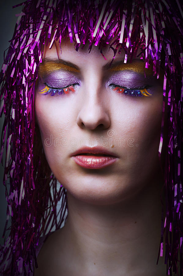 Bright glamour make-up for party stock image