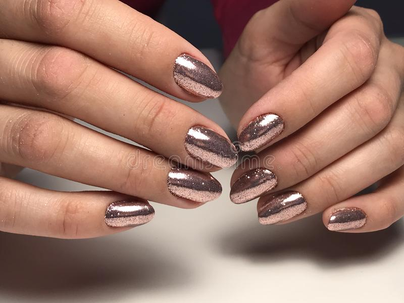 Bright glitter nails design stock photography