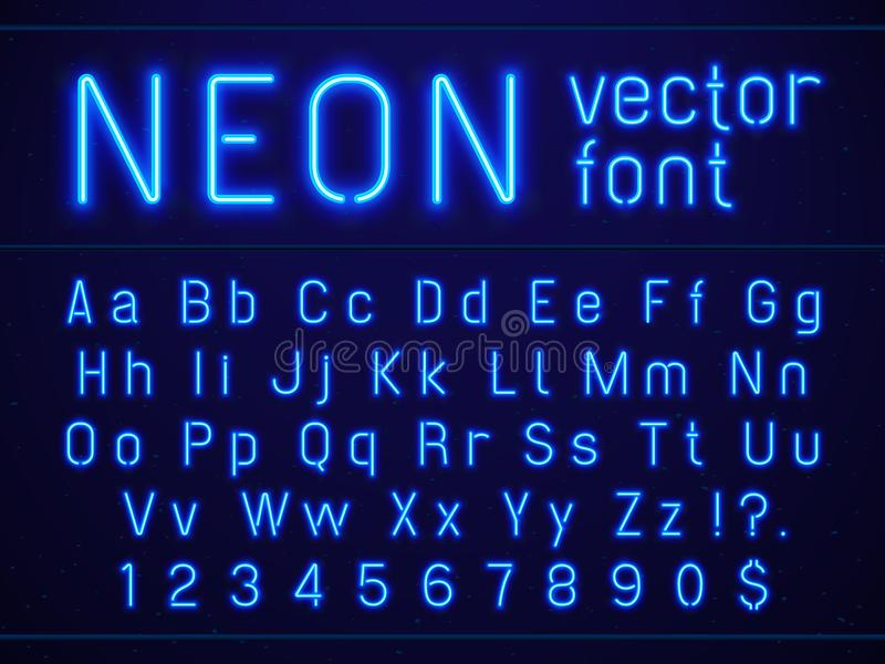 Bright glowing blue neon alphabet letters and numbers font. Nightlife entertainments, modern bars, casino illuminated royalty free illustration