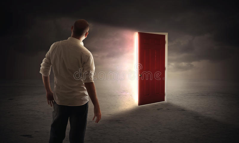 Bright glowing door royalty free stock photo