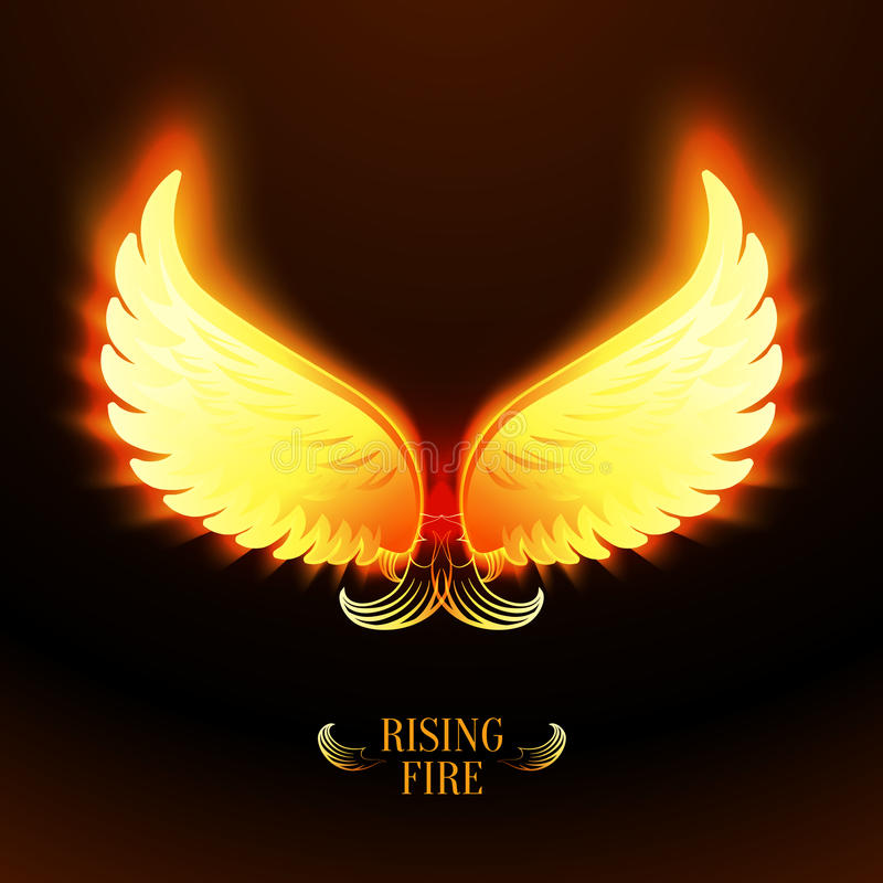 Bright glowing fire angel wings royalty free illustration