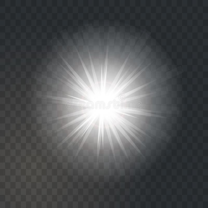 Bright glowing light sun burst on dark transparent background stock illustration