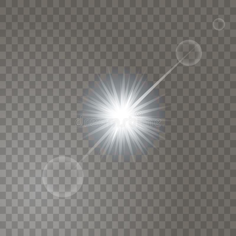 Bright glowing light sun burst on transparent background. vector illustration