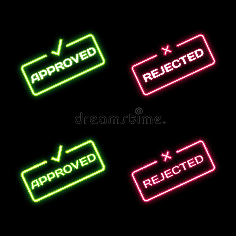 Bright glowing neon words Approved and Rejected on dark background. Approved Rejected dialog bubble icons for websites royalty free illustration