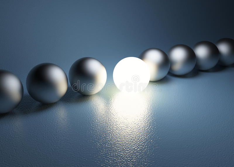 Bright glowing sphere in a row. Leadership concept stock illustration