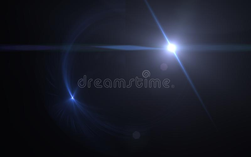 Bright glowing summer sun.Lens flare light. Over black background. Easy to add overlay or screen filter over photos royalty free illustration