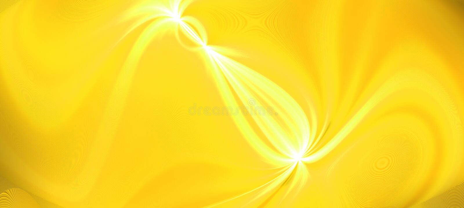 Bright gold glow flux effect wave. Dynamic motion energy. Design template illustration. Panoramic image. Modern gradient backgroun stock photo
