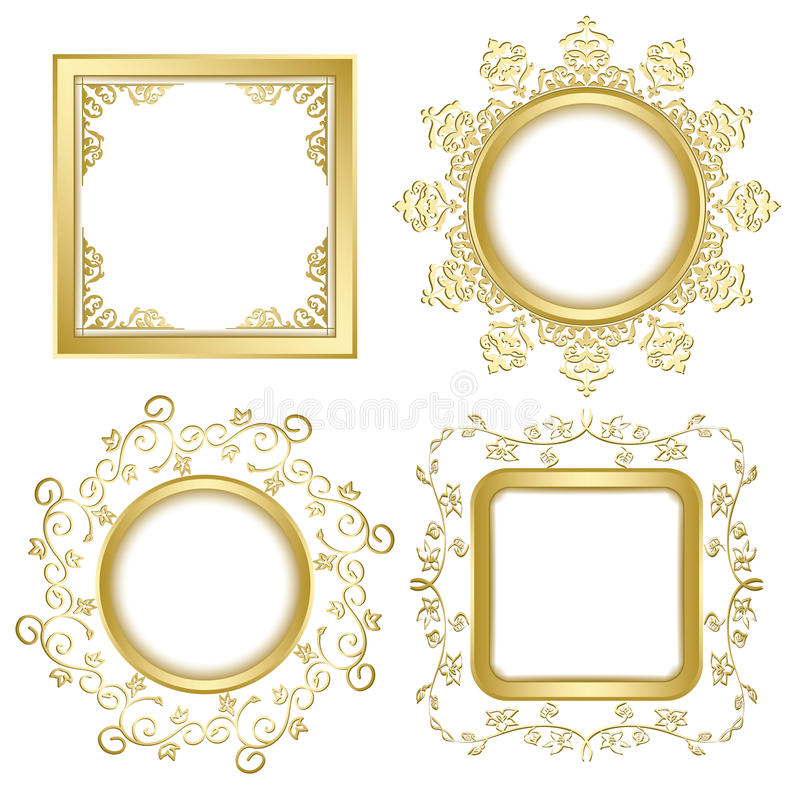 Download Bright Gold Vintage Vector Frames With Transparent Shadow Stock