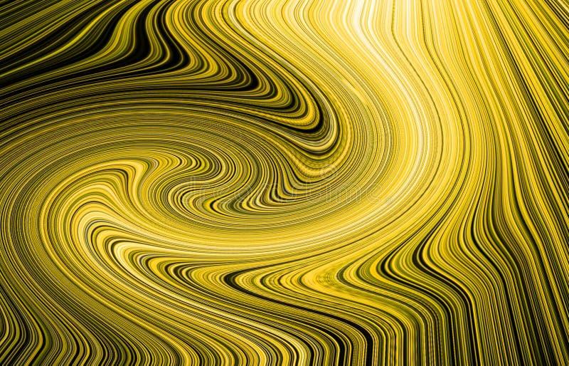 Bright golden glow flux effect wave. Dynamic motion. Shiny fractal stock illustration