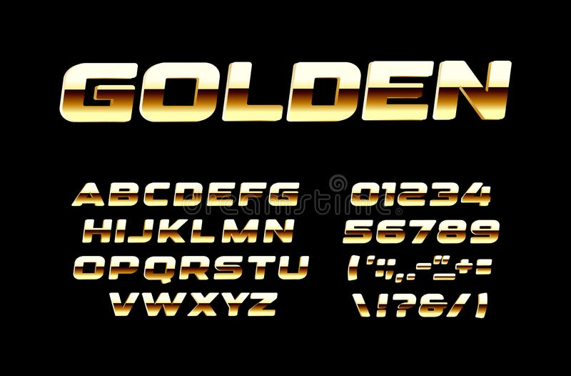 Bright Golden letters and numbers set. Bold gold and polished bronse style vector latin alphabet. Fonts for events stock illustration