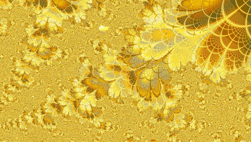 Bright golden yellow summer fractal with effect of butterflies and flowers. Golden yellow summer fractal with effect of butterflies and flowers stock photo