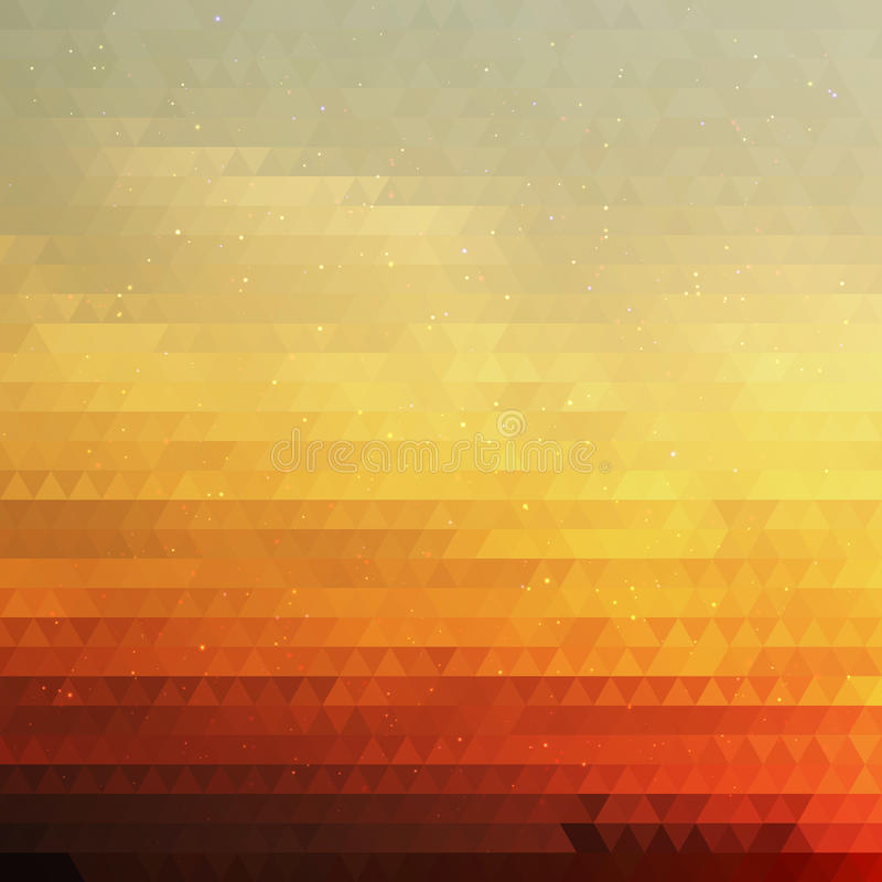 Bright Gradient Abstract Texture of Symmetric Triangles. Background of Geometric Shapes Colors of Sunrise Sky with Dust royalty free illustration