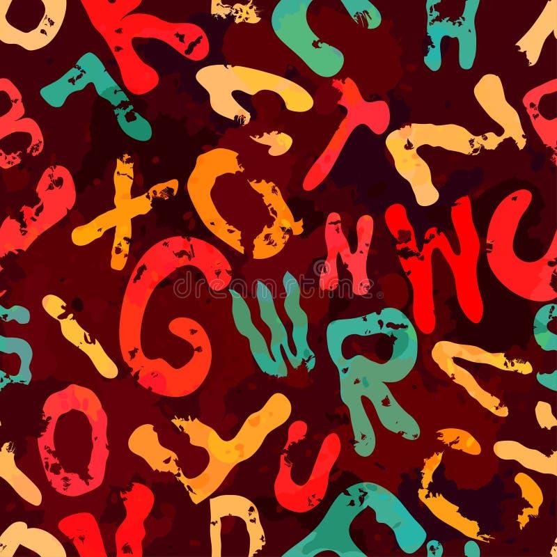 Bright graffiti geometric seamless pattern grunge effect. Vector eps 10 vector illustration