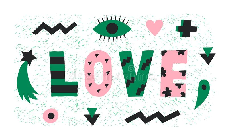 Bright graphic green and pink Love lettering with simple paper cut shapes,heart,eye and star.Trendy minimalistic word vector illustration