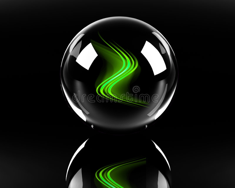 Bright green abstract waves in the glass sphere stock illustration