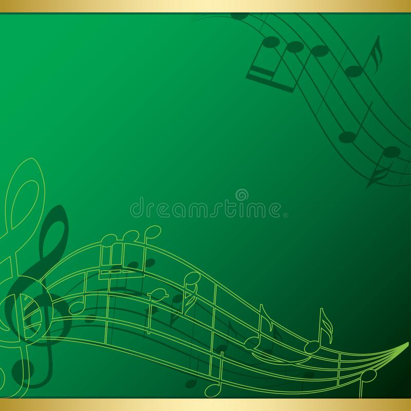 Bright green background with music notes - vector flyer royalty free illustration