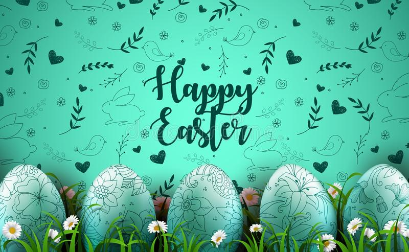 Bright green background with realistic eggs and daisy flowers in the grass vector illustration