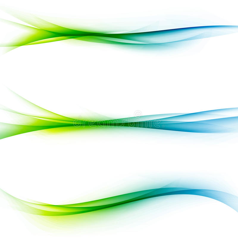 Bright green blue speed abstract lines flow. Minimalistic fresh swoosh seasonal spring wave transition divider editable template. Vector illustration stock illustration