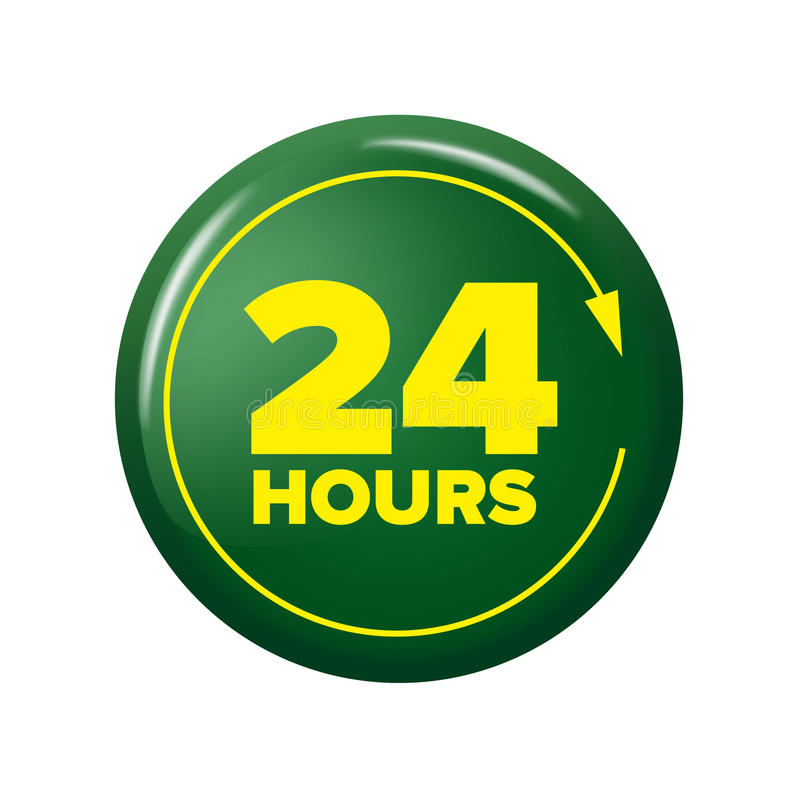 Bright green button with words `24 hours` and arrow. Work time circle label for posters and banners. Day and night open tag. Design element on white background vector illustration