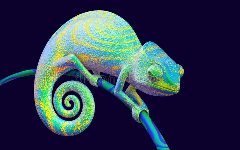 Bright green chameleon, 3d rendering. royalty free illustration