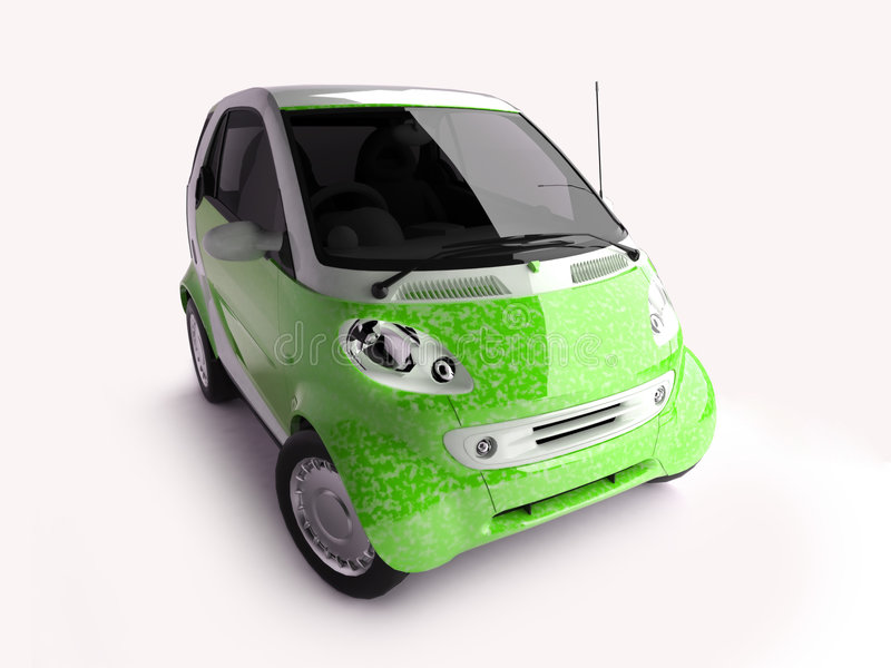 Bright green compact car royalty free illustration