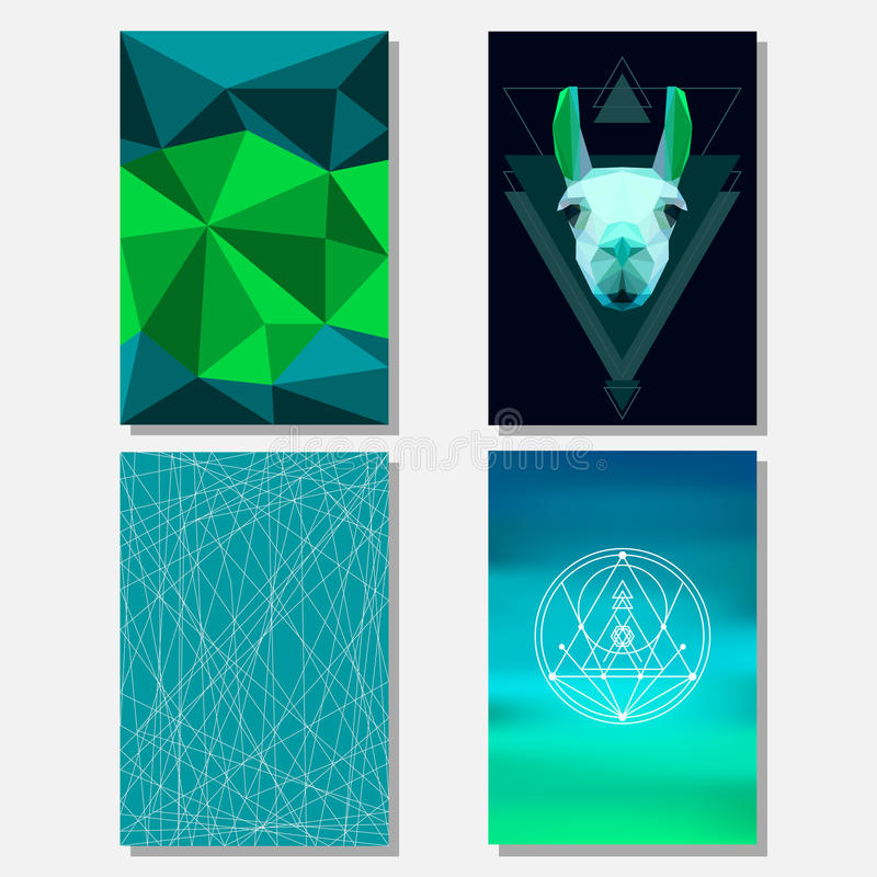 Bright green and deep blue colored set with geometric llama and polygonal background for use in design for card, poster, banner royalty free illustration