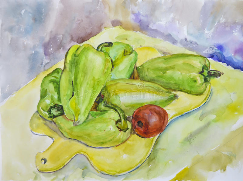 Bright green delicious pepper painted with watercolor stock photos