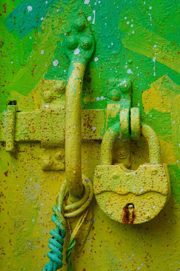 Bright green door lock royalty free stock images