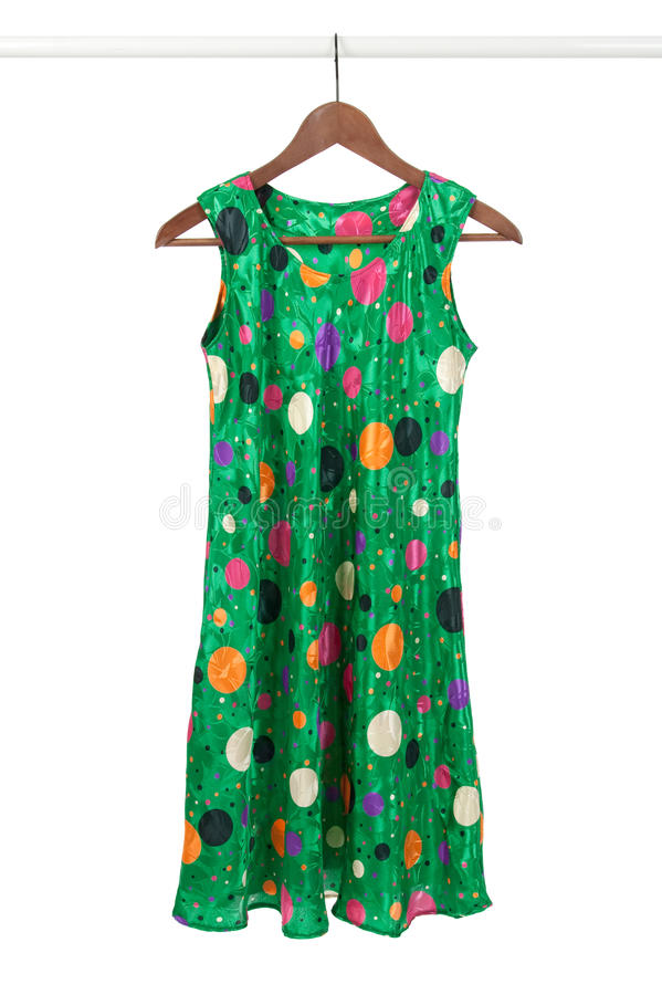 Download Bright Green Dress On A Wooden Hanger Stock Photo - Image: 16644220
