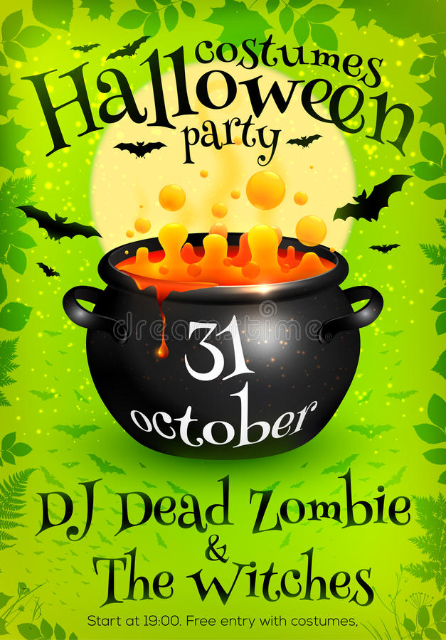 Bright green Halloween party poster template with royalty free illustration