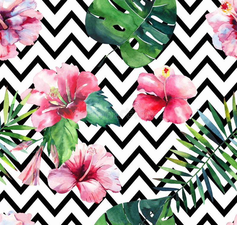 Bright green herbal tropical hawaii floral summer pattern of a tropic palm leaves and tropic pink red violet blue flowers. Hibiscus, orchid, lily watercolor on vector illustration