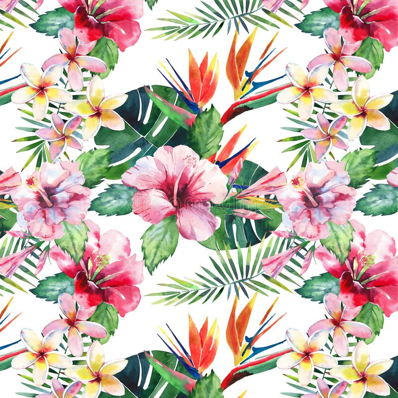 Bright green herbal tropical wonderful hawaii floral summer pattern of a tropic palm leaves and tropic pink red violet blue flower. S hibiscus, orchid, lily vector illustration