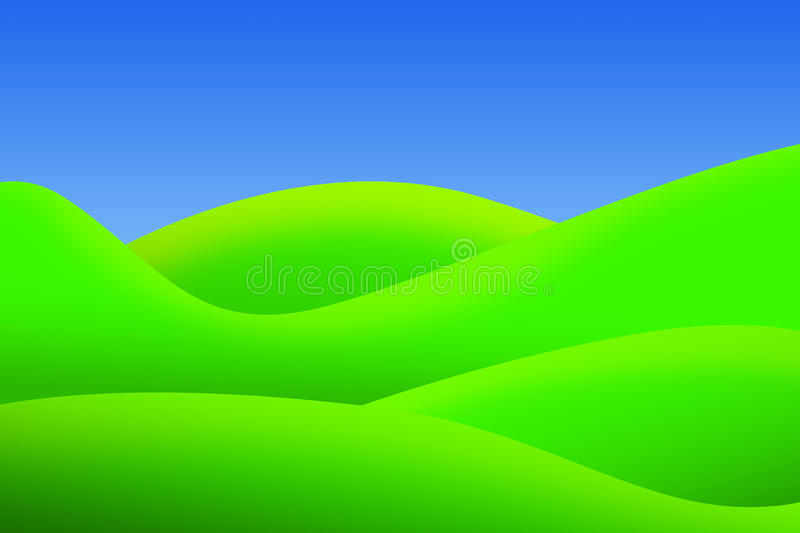 Bright Green Meadows And Clear Sky In Summer Stock Photography