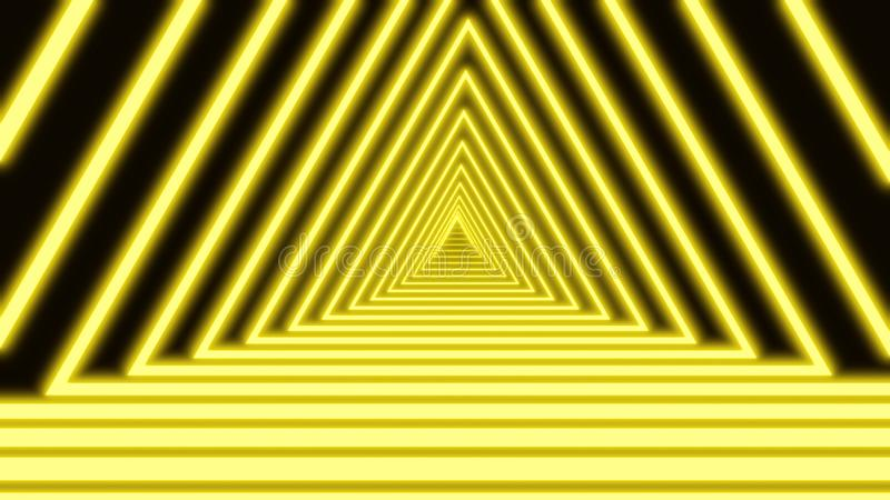 Bright green neon lines are crossing and forming triangle tunnel on black background. Geometric background of narrow stock illustration