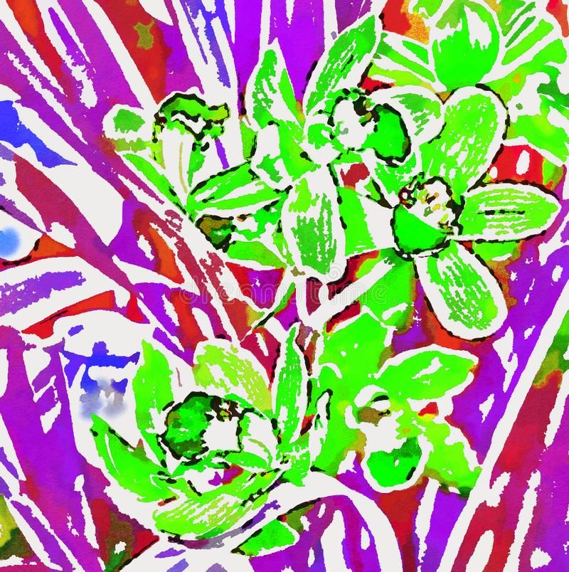 Bright green Orchid on the background of the purple leaves. royalty free illustration