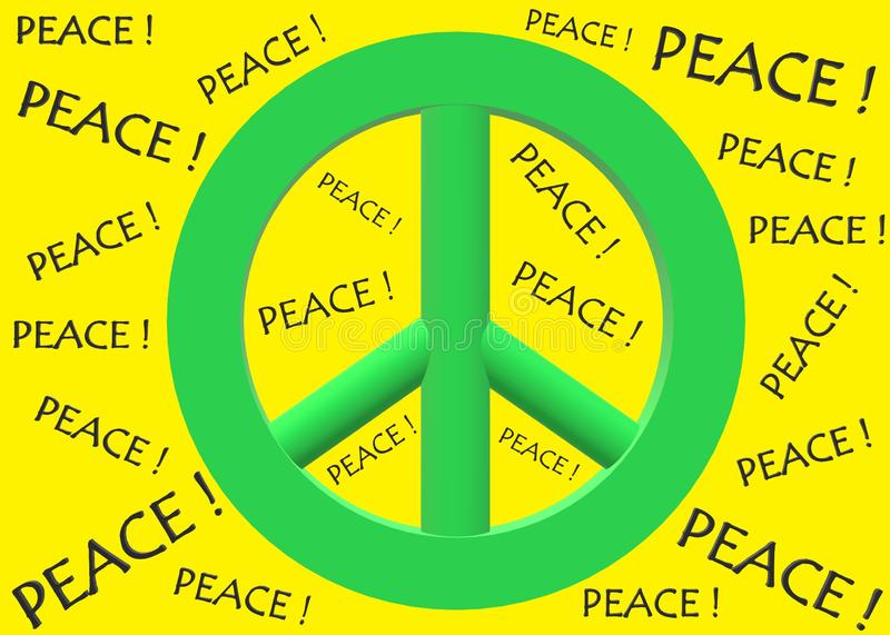 A bright green peace symbol against a backdrop of the word PEACE bright yellow backdrop royalty free stock photography