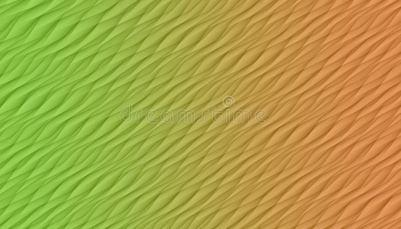 Bright green and peach orange  diagonal curves and angles abstract background illustration. vector illustration
