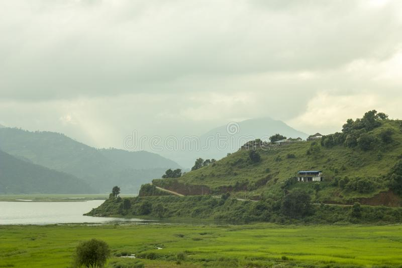 A bright green rice fields with a lake and a mountain valley in fog and clouds. Bright green rice fields with a lake and a mountain valley in fog and clouds royalty free stock images