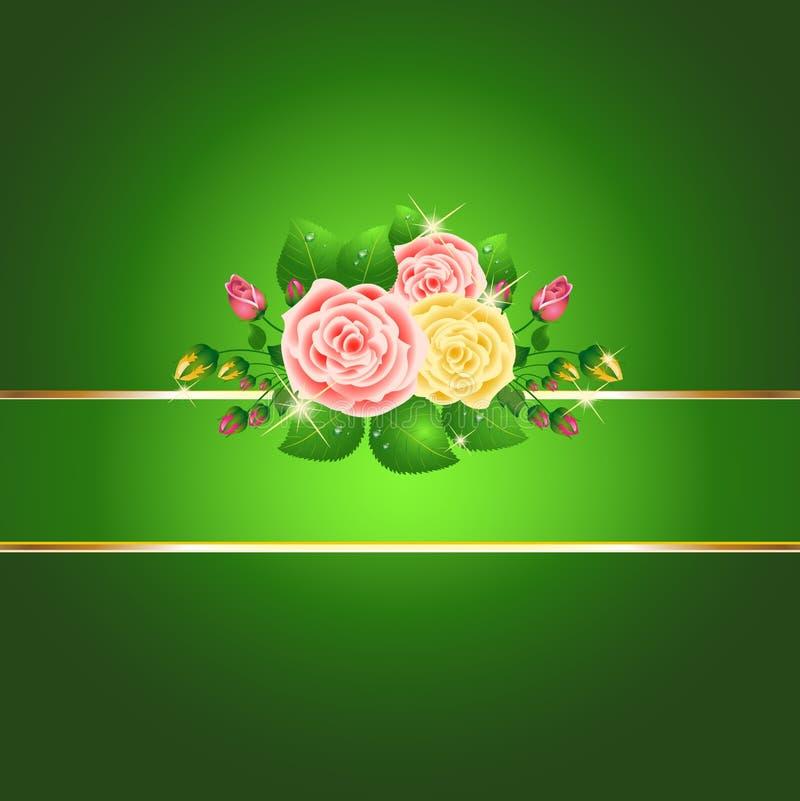 Bright green roses card royalty free illustration