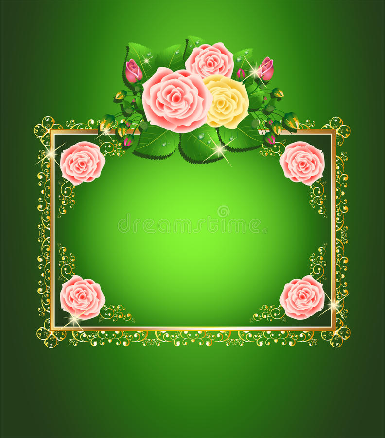 Bright green roses card vector illustration