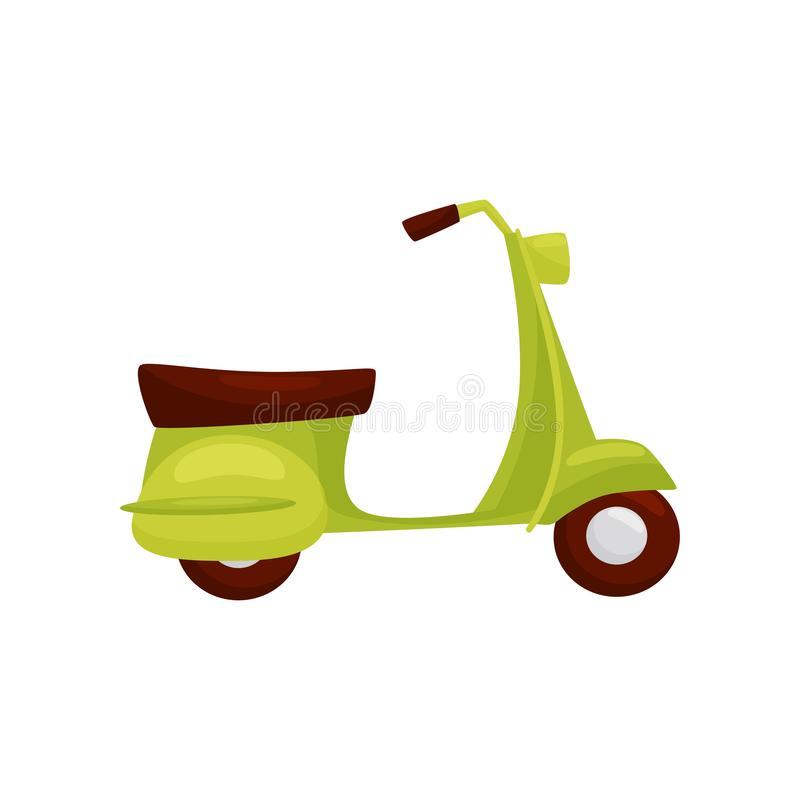 Bright green scooter with brown seat, side view. Popular transport in Vietnam. Motor vehicle. Flat vector design vector illustration