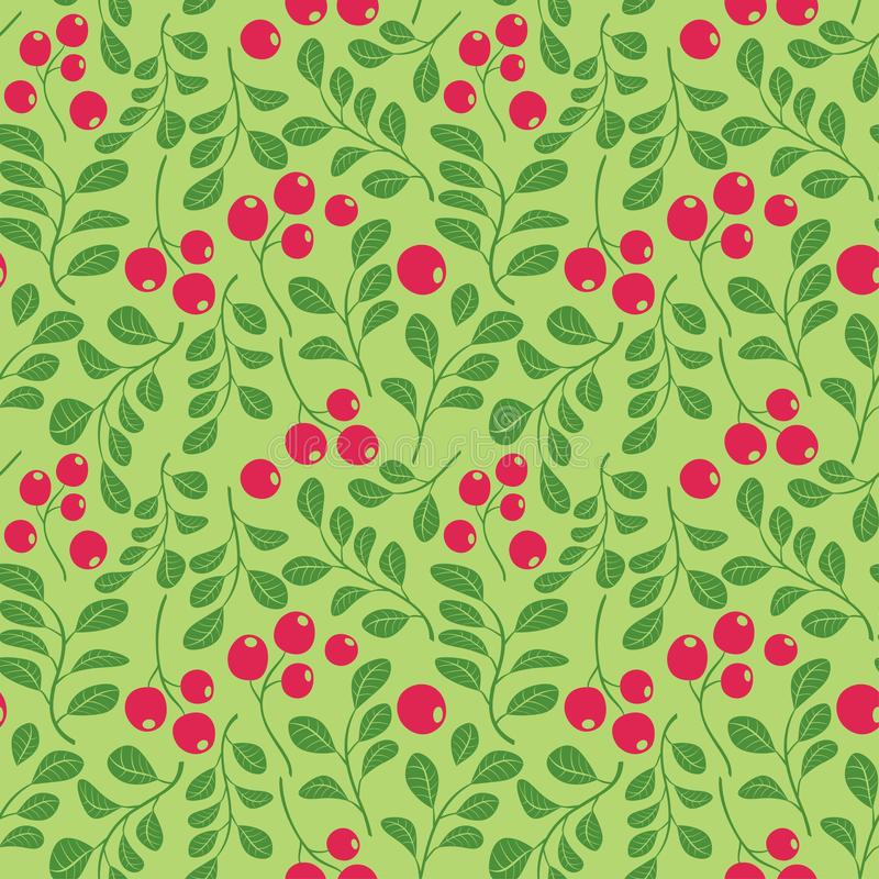 Bright green seamless pattern with red berries - vector decorative background stock illustration