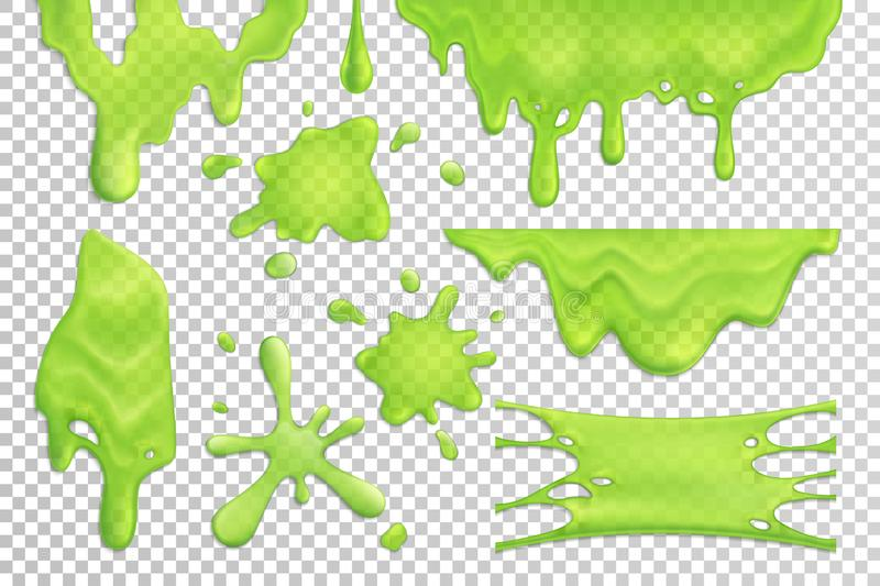 Slime Drips Realistic Set. Bright green slime drips and blots set isolated on transparent background realistic vector illustration royalty free illustration