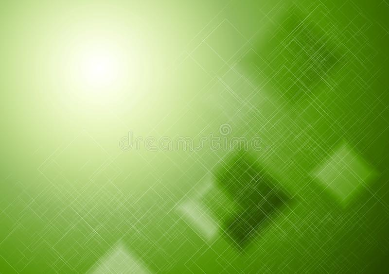 Bright green technical squares background stock illustration