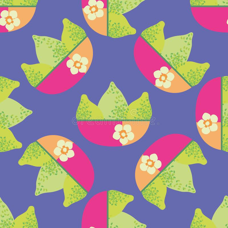 Bright green textured vector limes in pink orange floral bowls. Seamless pattern background. Single motif citrus fruit. Design on purple backdrop Hand drawn royalty free illustration