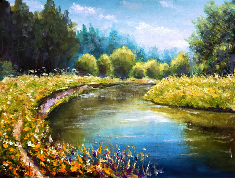 Bright green trees are reflected in water sea. Landscape is summer on water. Nature. River bank. Rural landscape. Original Oil Pai. Original oil painting Bright stock illustration
