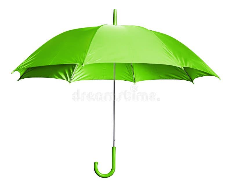 Bright Green Umbrella. Studio Shot of Green Classic Umbrella Isolated on White stock images