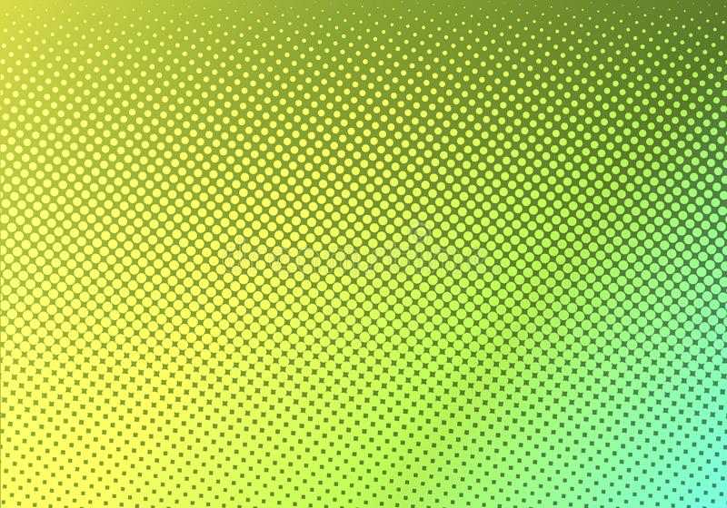 Bright green with yellow dotted halftone. faded dotted gradient. Abstract vibrant color texture. Modern pop art design template vector illustration