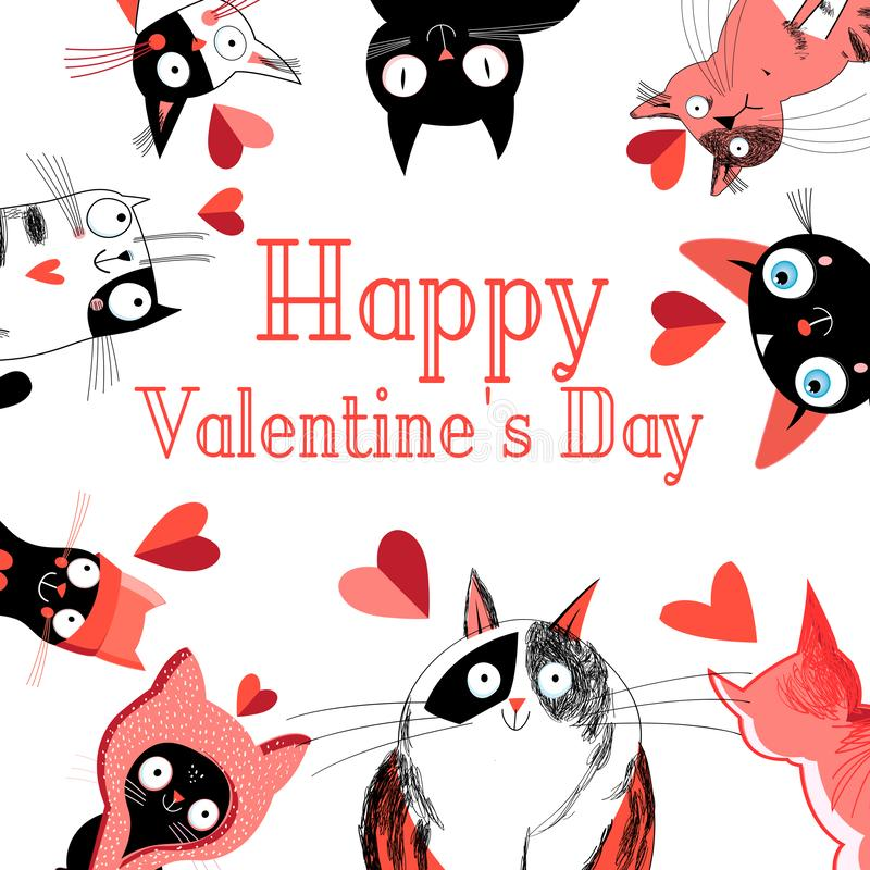 Bright greeting card with cats in love for the holiday vector illustration