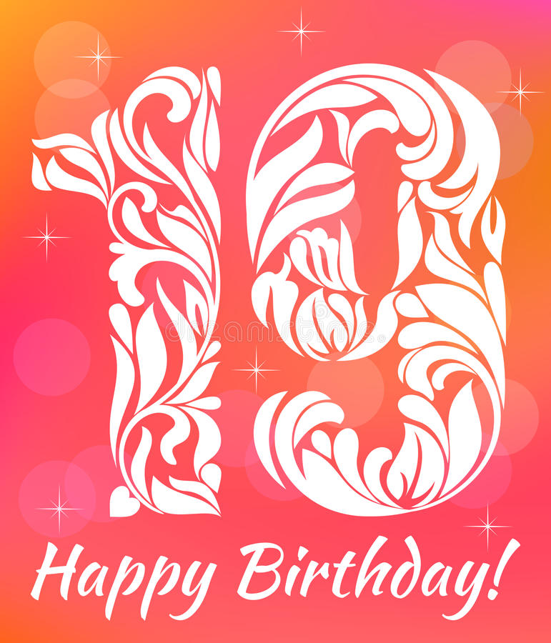 Bright Greeting card Invitation Template. Celebrating 19 years birthday. Decorative Font royalty free illustration